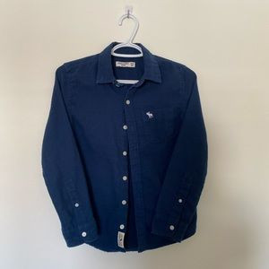 abercrombie kids navy blue button down